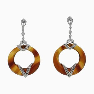 Diamond, Hard Stone & Gold Dangle Earrings, Set of 2