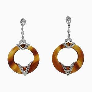 Hängeohrringe aus Diamant, Hartstein & Gold, 2er Set