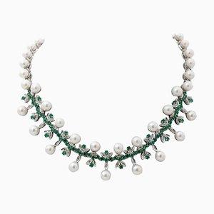 Collana con diamanti, smeraldi, perle e oro bianco 14K