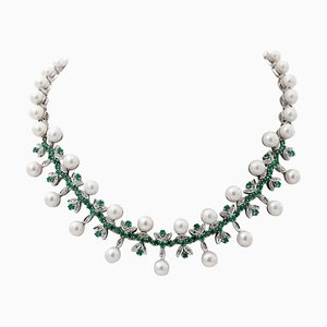 Halskette aus Diamant, Smaragd, Perle & 14 Karat Weißgold