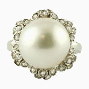 Anillo de oro blanco de 14 quilates, diamantes y perlas de los mares del Sur