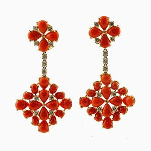 Diamond, Coral & 14K White & Yellow Gold Dangle Earrings, Set of 2