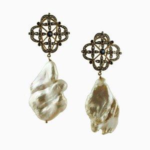 Diamant, Blauer Saphir, Barocke Perle, 14 Karat Weißgold und Silber Ohrringe, 2er Set