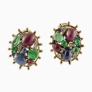 Diamond, Blue Sapphire, Emerald, Ruby & 14K Yellow Gold Stud Earrings, Set of 2