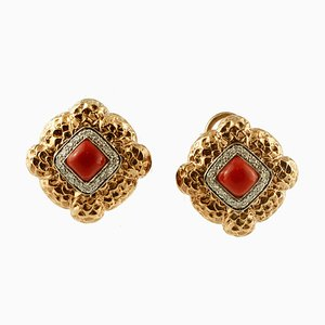 Diamond, Rubrum Coral & 14K Yellow and White Gold Stud Earrings, Set of 2