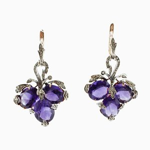 Diamond, Amethyst, Rose Gold and Silver Leverback Dangle Earrings, Set of 2