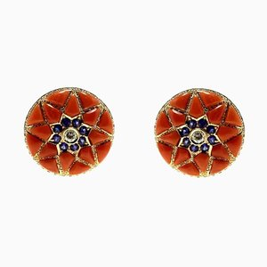 Diamond, Blue Sapphire Flower, Red Coral Flower & Rose Gold Stud Earrings, Set of 2
