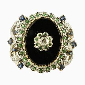 Diamant, Farbiger Saphir, Tsavorit, Onyx & 14 Karat Weiß- und Roségold Ring