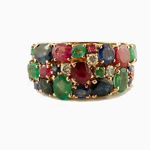 Anello con rubino, smeraldo, zaffiro blu e oro rosa 14K
