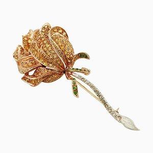 Broche Diamant, Saphir, Tsavorite, Or Rose et Argent