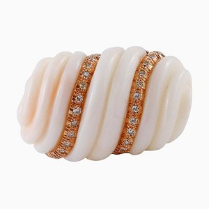 Finely Carved Coral, Diamond & Rose Gold Wave Ring