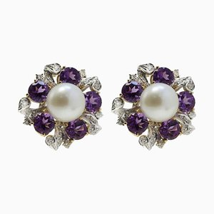 Handcrafted Rose Gold, White Gold, Amethyst, Diamond and Pearl Earrings, Set of 2