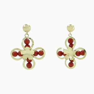 Handcrafted Gold Flower Earrings, Set of 2
