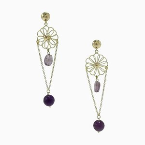 Handcrafted Gold Dangle Earrings with Stones, Set of 2