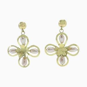 Handgefertigte Blumenohrringe aus Perle & Gelbgold, 2er Set