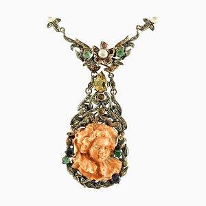 Handgefertigte Halskette aus Diamant, Rubin, Smaragd, Saphir, Orangen Korallen, Perlen, Gold & Silber Halskette