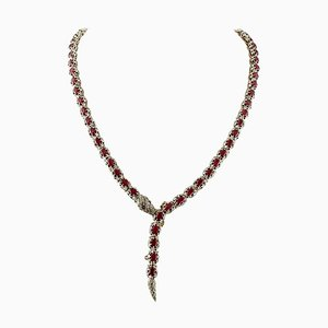 Handcrafted Ruby, Diamond, 9 Karat Yellow Gold and Silver Snake Necklace