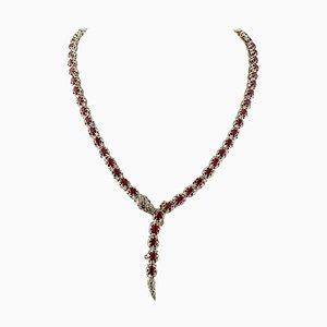 Handgefertigte Schlangen Halskette aus Rubin, Diamant, 9 Karat Gelbgold und Silber