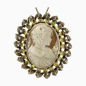 Ciondolo o spilla in peridoto, diamante, rubino, oro rosa 9 carati e argento