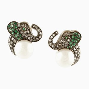 Pearl, Diamond, Emerald, 18K Yellow Gold and Silver Elephant Earrings, Set of 2