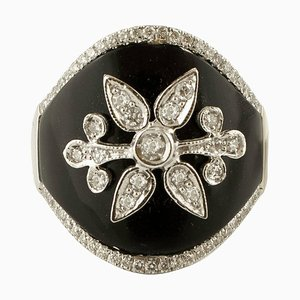 Anello con diamanti, onice e oro bianco 18 carati