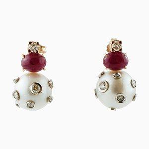 Hängeohrringe aus Perle, Rubin, Diamant & 14 Karat Gelbgold, 2er Set