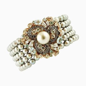Graue Perle, Schwarzer und Weißer Diamant, Aquamarin & Roségold Perlenarmband