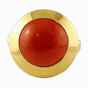 18K Yellow Gold and Rubrum Coral Ring