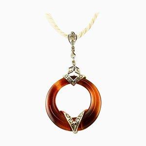 Carnelian, Diamond and 14K White Gold Pendant