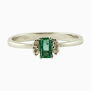 Smaragd, Diamant & 18 Karat Weißgold Solitär Ring