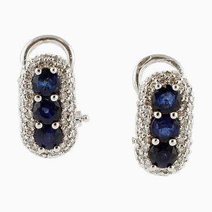 Diamond, Blue Sapphire & 18K White Gold Earrings, Set of 2