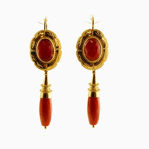 18K Yellow Gold and Coral Dangle Earrings, Set of 2
