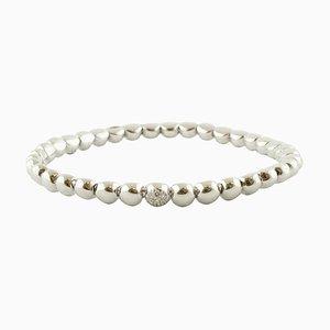 Diamond and 18K White Gold Beaded Bracelet