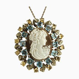 Blue and Yellow Topaz, Diamond, 9 Karat Gold and Silver Cameo Pendant or Brooch