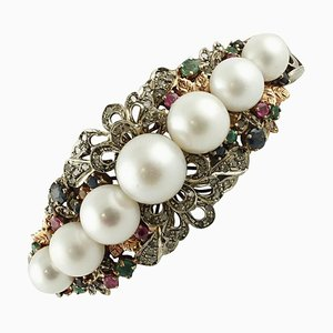 Handcrafted Rigid Bracelet with Diamonds, Rubies, Emeralds, Sapphires, Pearls, Rose Gold and Silver