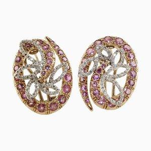 Tourmaline, Diamond & Rose Gold Earrings, Set of 2