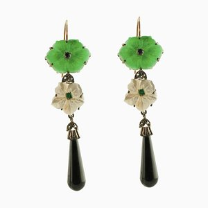 Handcrafted Diamond, Blue Sapphire, Emerald, Onyx, Green Agate & Mother-of-Pearl Earrings, Set of 2