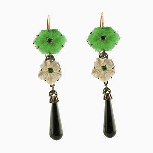 Handgefertigte Ohrringe mit Diamant, Blauem Saphir, Smaragd, Onyx, Grünem Achat & Perlmutt, 2er Set