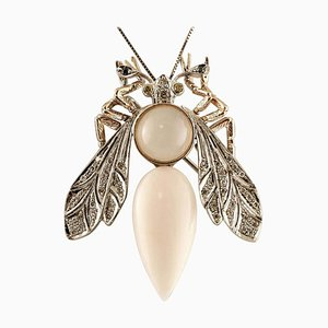 Pink Coral Drop, Diamond, Moonstone & White and Rose Gold Dragonfly Brooch