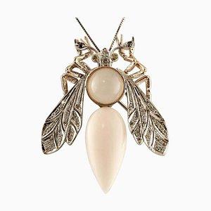 Spilla a forma di libellula in corallo rosa, diamante, pietra di luna e oro rosa