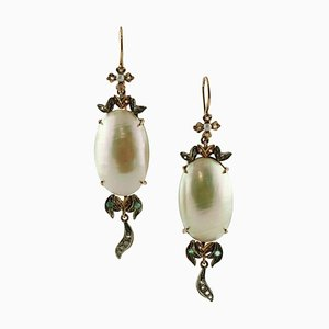 Diamond, Emerald, Pearl, Rose Gold and Silver Drop Earrings, Set of 2