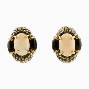 Aretes de clip ovalados de coral rosa, diamante, ónix, oro rosa de 14 quilates y plata. Juego de 2