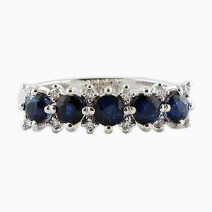 Blue Sapphire, Diamond & 18 Karat White Gold Ring