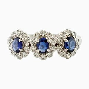 Sapphire, Diamond & 18 Karat White Gold Ring