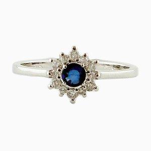Bague de Fiançailles en Saphir Bleu, Diamant et Or Blanc 18 Carats