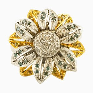 18K White and Yellow Gold & Fancy Diamond Daisy Ring