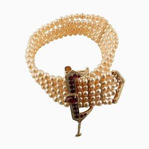 Handgefertigtes Perlenarmband aus Diamant, Rubin, Rosenperle & Roségold
