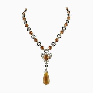 Halskette aus Topas, Onyx, Smaragd, Diamant, Roségold und Silber
