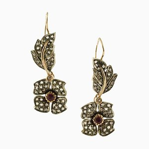 Diamond, Ruby, Rose Gold and Silver Earrings, Set of 2
