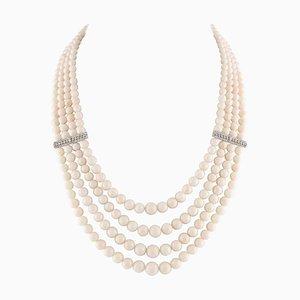 Collana a più fili fatta a mano con file di corallo rosa, diamanti e oro bianco 14K